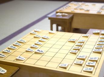 将棋盤を斜めから撮ったところ