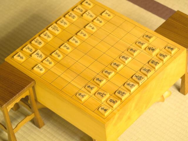 初期配置の駒が並べられた将棋盤