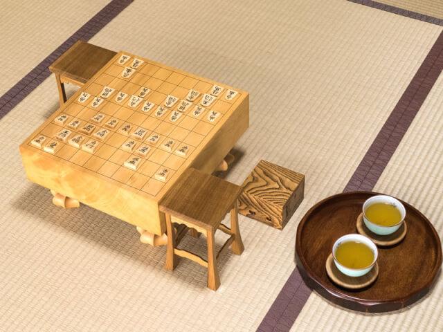 将棋盤とお茶